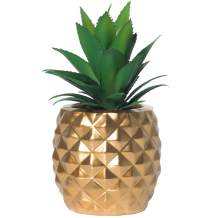 Artificial Succulent Potted Pineapple Decor - Fake Pineapple Home Office Kitchen Table Decoration (Gold)