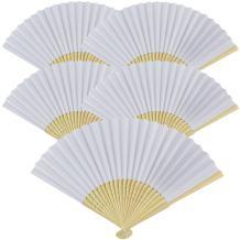 Just Artifacts Folding Paper Hand Fan 8.25-Inch White (5 pcs)