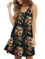 MOLERANI Women's Floral Sleeveless Loose Plain Dresses Casual Short Dress Green Leaves Red S