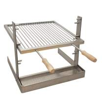 SpitJack Portable Camping Grill. Cook Over a Fireplace or Campfire with an All Stainless Steel Argentine Santa Maria Cooking Grate and Drip Pan. 17 X 15 Inch Grill