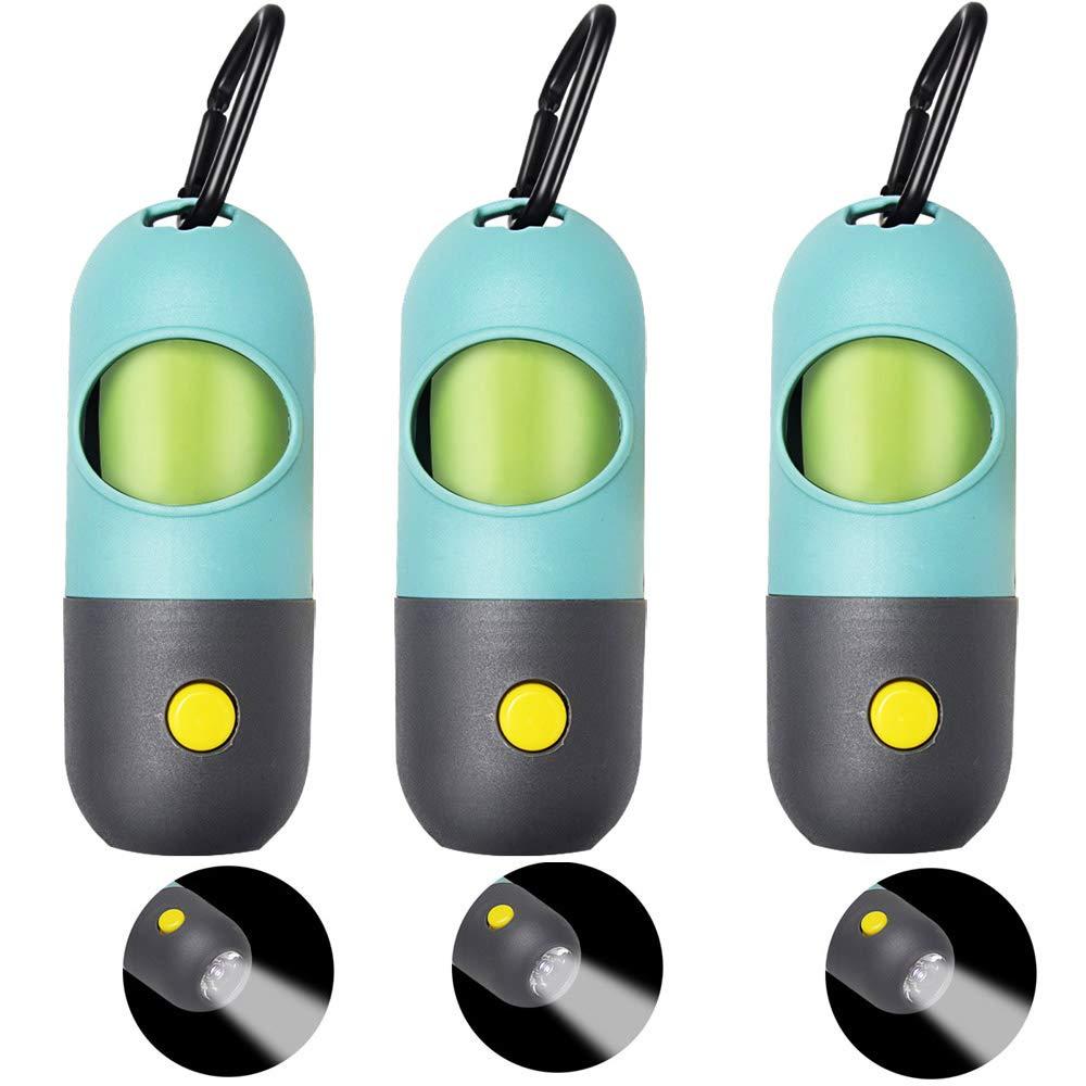 Dog Poop Bag Dispenser Built-in LED Flashlight 2pcs Dog Poop Bag Holder, Pet Waste Bag Dispenser for Leash with Sturdy Carabiner Clip, 2 Leak-proof Dog Waste Bags Dog Poop Bag Holder Leash Attachment