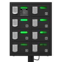 ChargeTech Secure Cell Phone Charging Station Locker w/8 Digital Combination Locking Bays - Multi-Port Charging Locker with Universal Charging Tips Included for All Devices (Model: PL8) [Black]