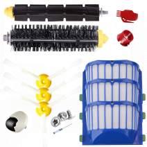 E.LUO Accessory for iRobot Roomba 500 550 600 610 620 650 Series Vacuum Cleaner Replacement Part Kit - Pack Filter, Side Brush, Bristle Brush, Flexible Beater Brush,Robot Wheel