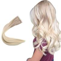 Easyouth 22inch PU Tape in Hair Extensions Color 18 Ash Blonde Fading to 60 Lightest Blonde 100Gram 40pcs Invisible Skin Weft Balayage Ombre Color Tape on Hair Extensions
