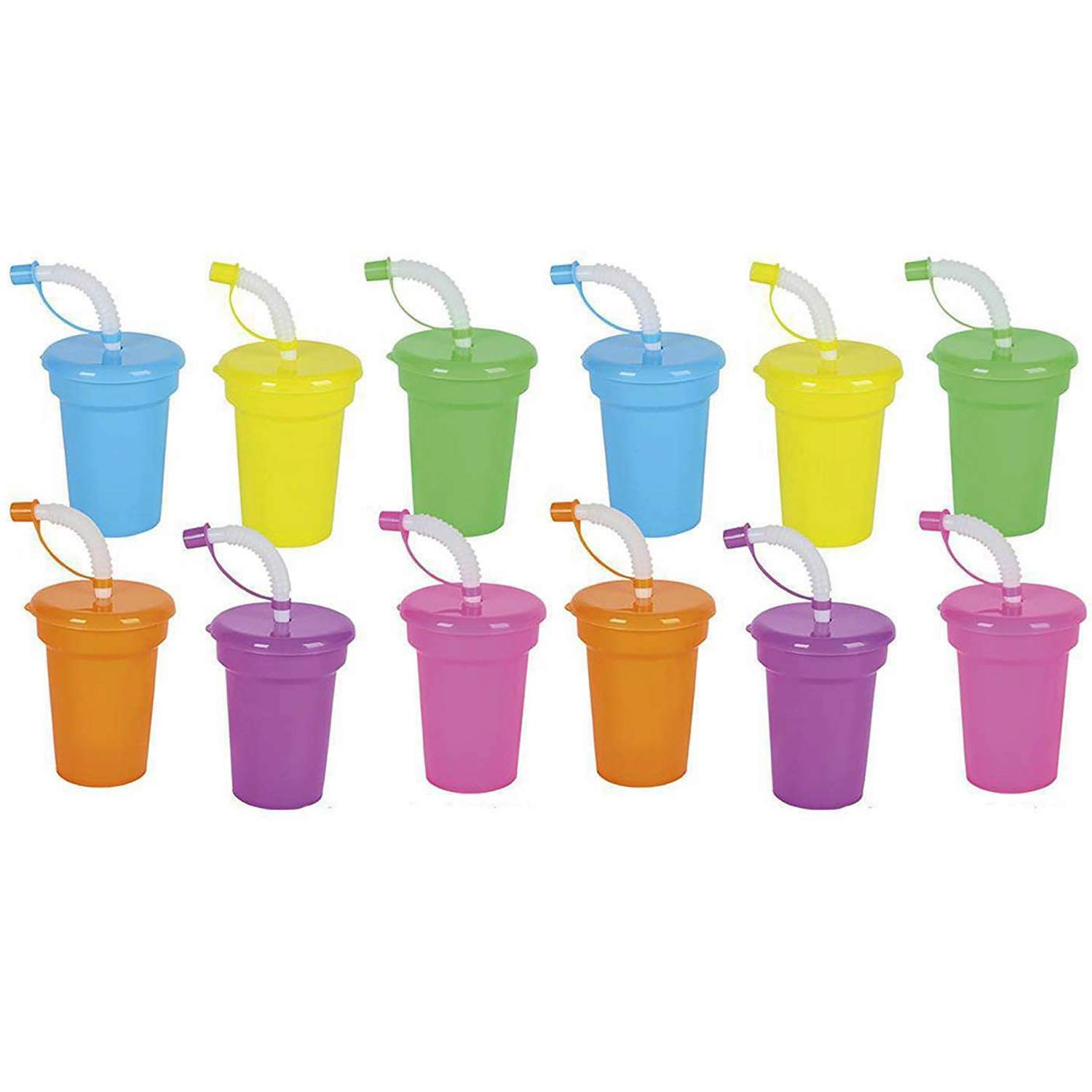 Kicko Neon Sipper Cups - 5.5 Inches Cool and Fun Colorful Neon Spill-Proof Cup with Lid and Straw - Pack of 12 - School Events, theme Parties, and Birthday Celebrations - Party Supplies