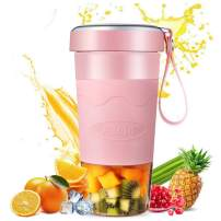 Portable Blender, Personal Size Blender for Shakes and Smoothies - 14 oz Small Blender Fruit Juicer Mixer with Four Blades - USB Rechargeable for Outdoor Travel Home Office (Pink)