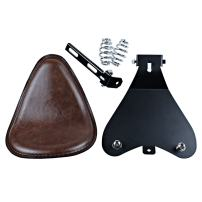 """Motorcycle 12"""" Synthetic Leather Brown Solo Seat w/ 3"""" Springs + Sliding T-Bar + Swivel Bracket Mounting Kit"""