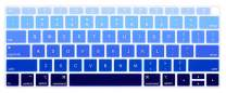 HRH Silicone Keyboard Cover Skin for MacBook Newest Air 13 Inch 2018 Release A1932 with Retina Display and Touch ID USA Layout,Ombre Blue