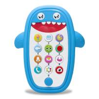FYYZY Baby Cell Phone Toy for Learning and Play Early Education Telephone with Silicone Teether Cover Music Lights Help Learn Basic Knowledge for 1 2 Year Old Kids (Blue)