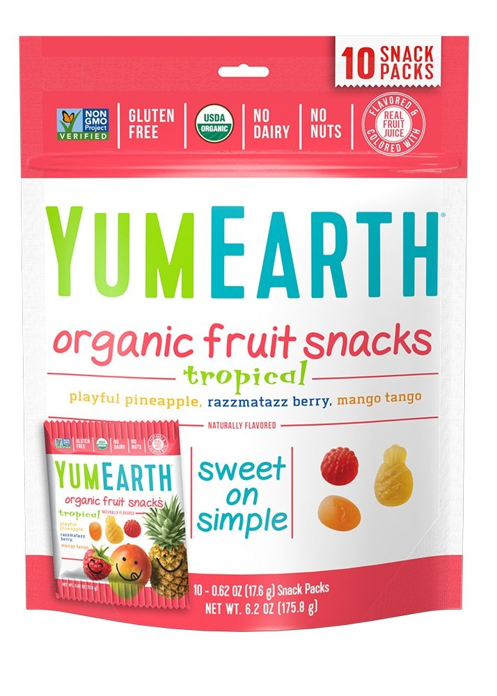 YumEarth Organic Tropical Fruit Snacks, 10 Snack Pouches Per Pack, 6.2 Ounce (Pack of 12)