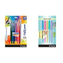 PILOT FriXion Color Sticks Erasable Gel Pens 10-pack of Assorted Colors & Light Pastel Collection Erasable Highlighters Set of 5 Yellow Pink Green Purple Blue