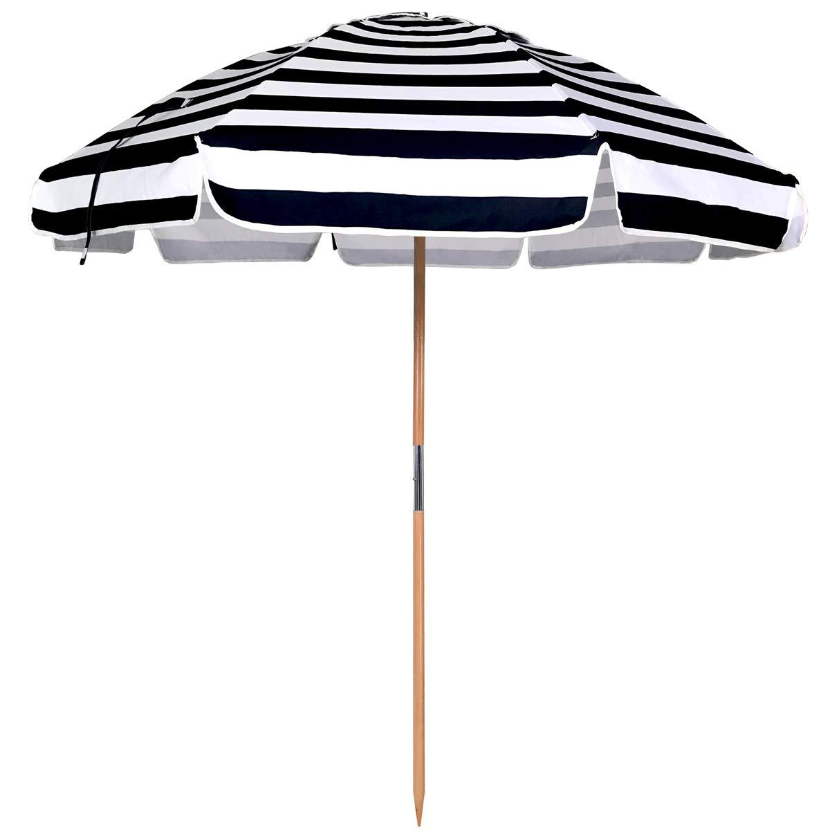 AMMSUN 7.5ft Commercial Grade Patio Beach Umbrella with Air- Vent Ash Wood Pole & Carry Bag (230cm, Stripe Blue)