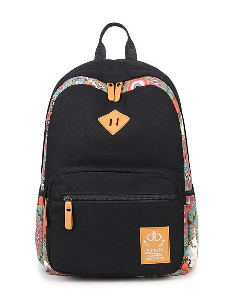 H HIKKER-LINK Womens Laptop Backpack Floral Stripe College School Book Bags Hiking Knapsack Black