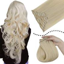 Easyouth 16 Inch Clip in Hair Extensions Platinum Blonde Clip on Real Human Hair Extensions for Fine Hair 7Pieces 100 Gram Silky Straight Clip in Human Hair Extensions for Women
