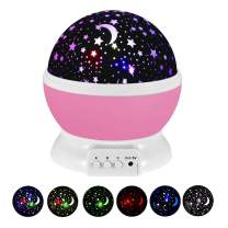 Starry Night Light for Girls, Rotating Star Nightlights Projector Party Favor Bedroom Decoration Stars Galaxy Nursery Lamp for Little Kids Toys for 3-12 Year Old Girl Boys Christmas Xmas Gifts Pink