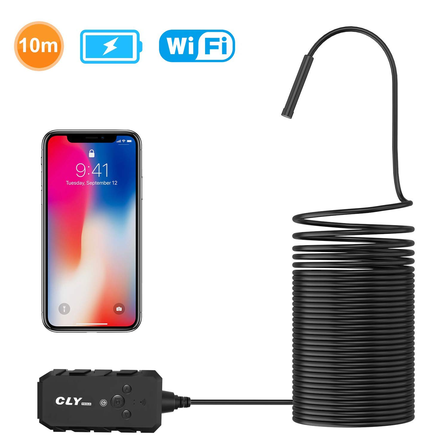 Wireless Endoscope, CLY Semi-Rigid Wireless Borescope WiFi Inspection Camera 2.0 Megapixels HD Endoscope Camera 5.5mm Snake Camera with 2000 mAh Battey for Android iOS Smartphone and Tablet (10M)