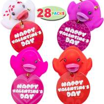 JOYIN 28 Pack Valentine's Day Gift Cards with Gift Mini Rubber Duck Bath Toys for Classroom Exchange Prizes, Valentine Party Favors Toys