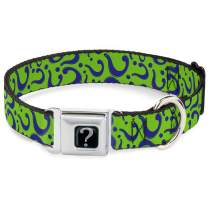 Buckle-Down Seatbelt Buckle Dog Collar - Question Mark Scattered Lime Green/Purple