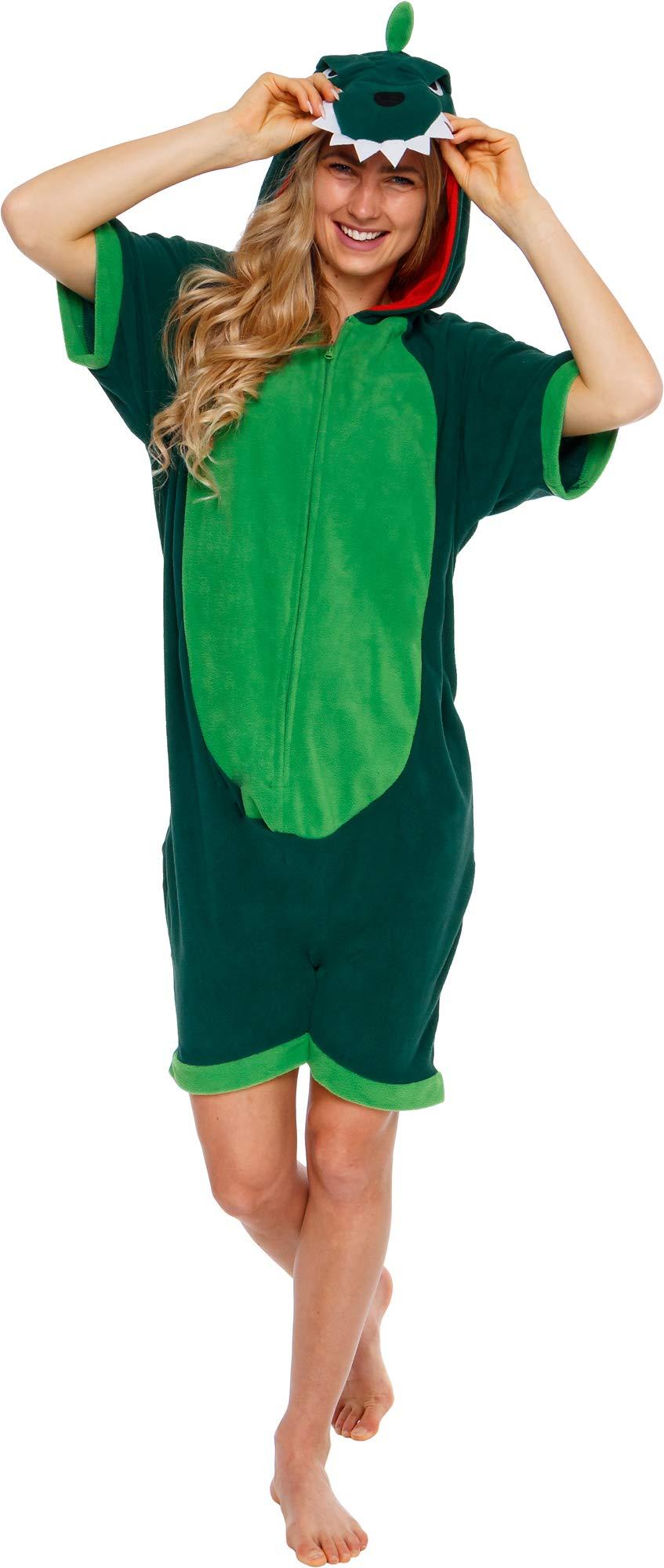 Silver Lilly Dinosaur Short Sleeve Animal Pajamas - Plush Adult One Piece Summer Cosplay Costume