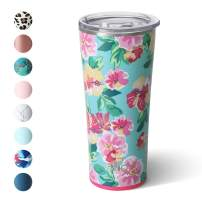 Swig Life 22oz Triple Insulated Stainless Steel Skinny Tumbler with Lid, Dishwasher Safe, Double Wall, and Vacuum Sealed Travel Coffee Tumbler in our Island Bloom Pattern (Multiple Patterns Available)