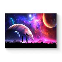 """HAOSHUNDA HSD Wall Art Rick and Morty Posters On Canvas Oil Painting Posters and Prints Decorations Wall Art Picture Living Room Wall Ready to Hang 12"""" x 18"""" 16"""" x 24"""" (12""""x18""""x1, Artwork-16)"""