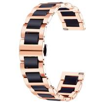 BINLUN Replacement Watch Band Stainless Steel Ceramic Watch Bracelet Polished Strap 12mm/14mm/16mm/18mm/20mm/22mm with Butterfly Buckle 6 Colors