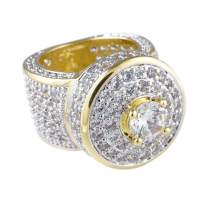 NIV'S BLING Cluster Ring Iced with Cubic Zirconia - 18K Yellow Gold Plated Hip Hop Pinky Ring for Men and Women