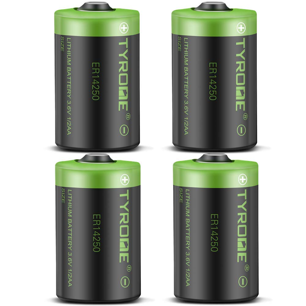 1/2 AA Size LS 14250 ER14250 3.6 Volt 1200 mAh Lithium Batteries 4 Pack, Tyrone Batteries Compatible for Dogwatch Dog Collar and Some of Movement Monitor/Home Security System/Alarm System