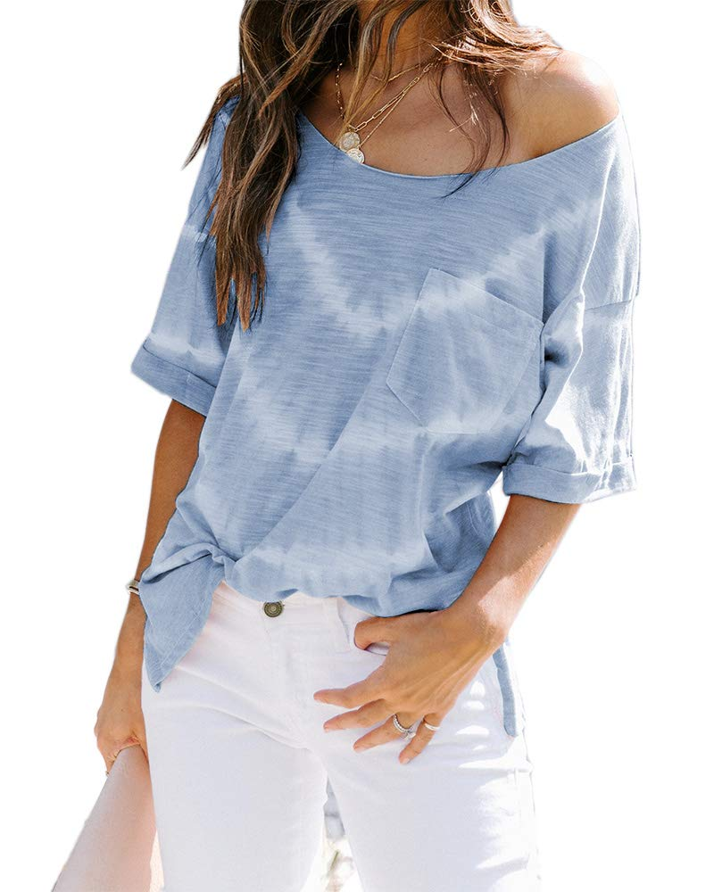Womens Tie Dye Striped Shirts Short Sleeve Off The Shoulder Summer Slit Tees Top with Pockets