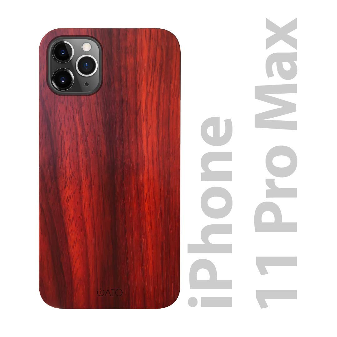 """iATO iPhone 11 Pro Max Wood Case. Real Rose Wood iPhone 11 Pro Max Case Wooden. Minimalistic Clean Dark Wood Case for iPhone 11 Pro Max 6.5"""" {2019} Wireless Charging Natural Wood Black Polycarbonate"""