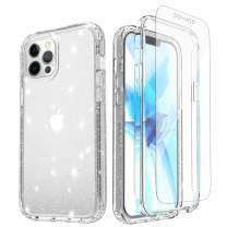 Misscase Case Compatible with iPhone 12/iPhone 12 Pro 6.1 inch 2020 with Screen Protector,[Military Grade] Full Body Protection Dual Layer Shockproof Hard Plastic & Soft TPU Bling Case Clear