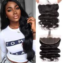Valentines Day Gifts Full Lace Frontal Closure With Baby Hair Ear To Ear Free Part Brazilian Body Wave Virgin Human Hair Extensions Natural Color (18 inch lace frontal)