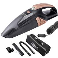 Car Vacuum Cleaner,High Power Portable Vacuum Cleaner for Car Wet/Dry Strong Suction 5000PA Handheld 12v with LED Light/16.4Ft Power Cord/Metal Fan/Stainless Steel Filter