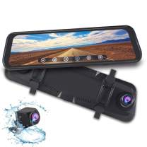 """1080P 9.66"""" Full Touch IPS Screen Car DVR Stream Media Rear-View Mirror Monitor with Front and Rear Double Recorder HD Camera Waterproof Night Vision&GPS Tracking"""