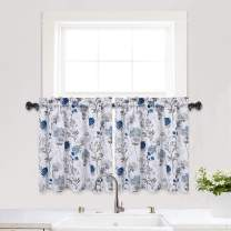 "Haperlare Blue Kitchen Curtains, Floral Print Short Bathroom Window Curtain, Watercolor Flowers Design Rod Pocket Half Window Kitchen Cafe Curtains, 27"" x 24"", Blue/Grey, Set of 2"