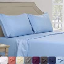 Abakan King Bed Sheet Set 4 Piece Super Soft Brushed Microfiber 1800TC Hotel Luxury Premium Cooling Sheet Breathable, Wrinkle, Fade Resistant Deep Pocket Bedding Sheet Set (King, Lake Blue)