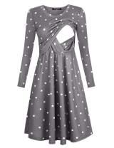 annery Women's Long Sleeve Nursing Dress Empire Waist with Pocket Breastfeeding Dress