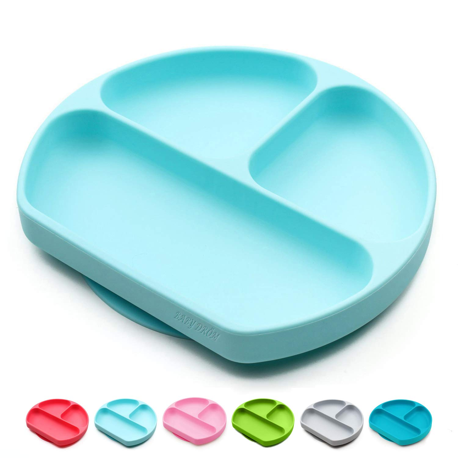 Baby Dröm Suction Plates for Babies, Toddlers, Silicone Placemats for Kids That Stick to High Chair Trays and Table, Baby Dishes - Kids Plates (Light Blue)