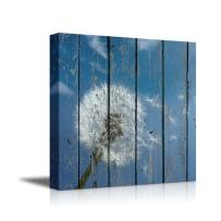 """wall26 - Canvas Prints Wall Art - Dandelion on Vintage Wood Board Stretched Canvas Wrap Ready to Hang - 16"""" x 16"""""""