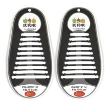 TOTOMO Elastic Silicone No Tie Shoelaces for both Adults & Kids Sneakers Flat Running Shoe laces Tieless