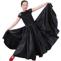 Long Full Satin Maxi Swing Dance Costume Skirt for Young Girls 14-16 Years