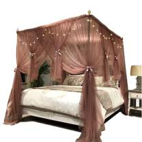 """Joyreap 4 Corners Post Canopy Bed Curtain for Girls & Adults - Royal Cozy Drape Netting - 4 Opening Mosquito Net - Cute Princess Bedroom Decoration Accessories (Reddish Brown, 47"""" W x 78"""" L, Twin)"""