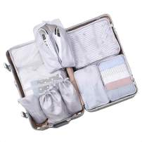 Belsmi 8 Set Packing Cubes - Waterproof Travel Luggage Organizer with Shoes Bag (0 Grey)