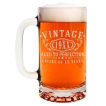 Custom Age Etched Birthday 16oz Glass Beer Mug - Vintage Aged to Perfection