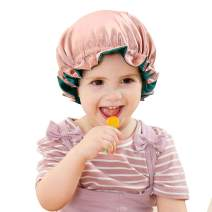 Greatremy Kids Satin Bonnet for Natural Hair, Soft Elastic Satin Hair Bonnet Sleep Cap with Adjustable Drawstring for Infant/Toddler/Baby/Child Comfortable Sleeping(Reversible Coral Pink/Green)