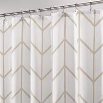 mDesign Decorative Herringbone Print - Easy Care Fabric Shower Curtain with Reinforced Buttonholes, for Bathroom Showers, Stalls, and Bathtubs, Machine Washable - Cream/Beige
