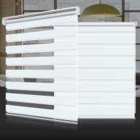 """SEEYE Zebra Shade Blinds Horizontal Window Curtain Day and Night Blind Dual Layer Shades Easy to Install 41.3""""×59"""", White"""