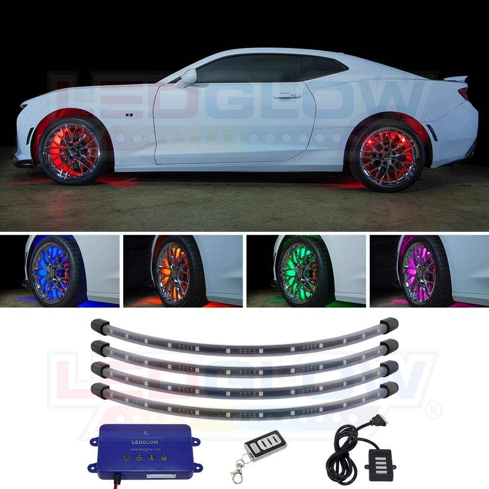 """LEDGlow 4pc Million Color LED Wheel Well Fender Accent Neon Lighting Kit for Cars & Trucks - 18 Solid Colors - 24"""" Multi-Color Flexible Tubes - Water Resistant - Includes Control Box & Wireless Remote"""