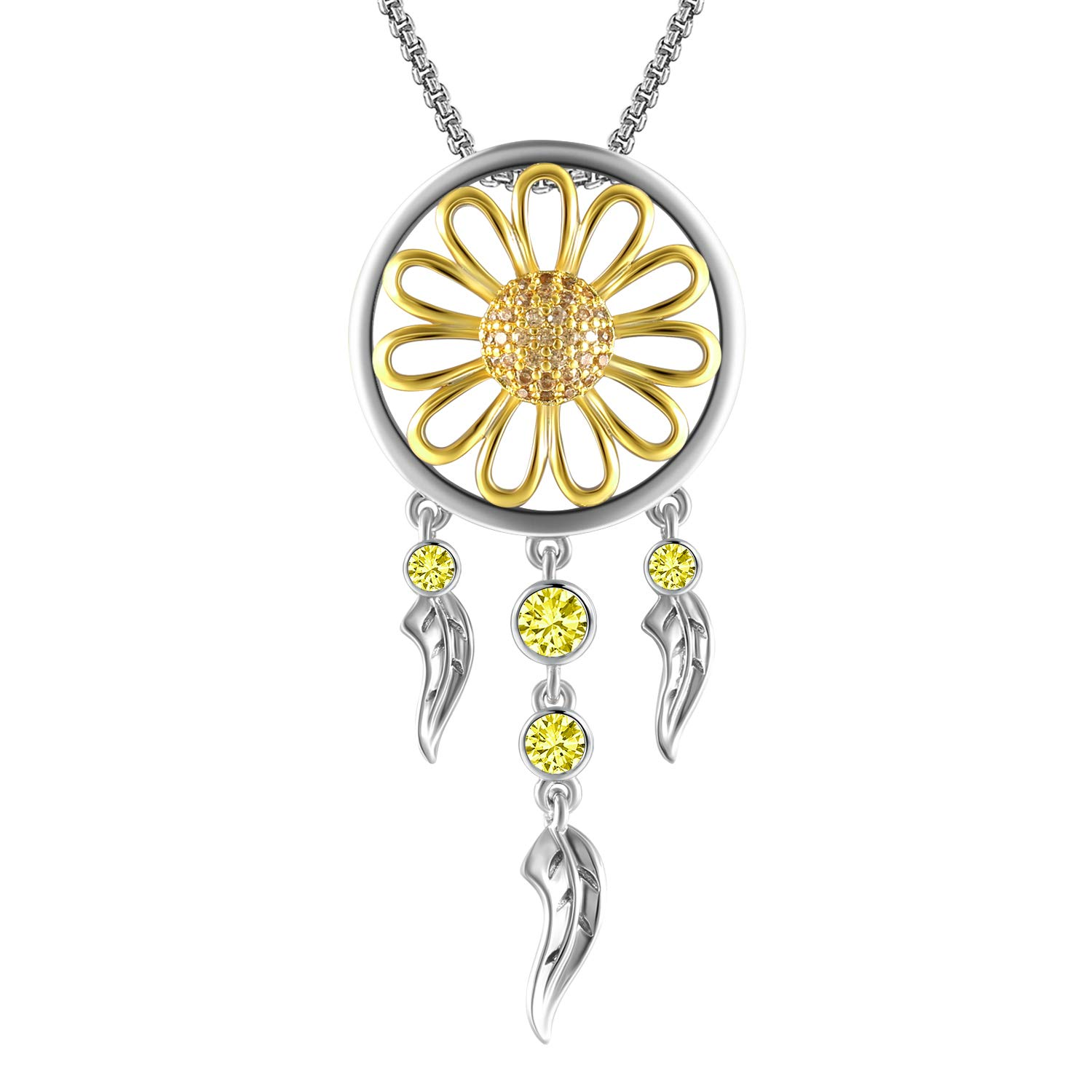 THEHORAE Yellow Gold Sunflower Pendant Necklace for Women Dream Catcher Necklace Jewellery Birthday Gift for Her
