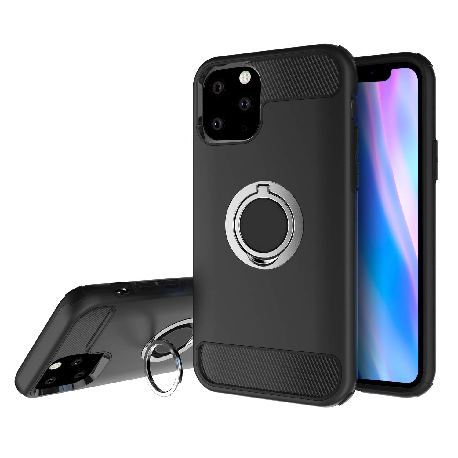 Olixar for iPhone 11 Pro Case with Loop - X Ring - Finger Loop - Rotating Kickstand and Media Viewing Stand - Finger Loop - Black